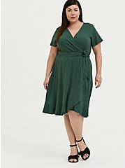 Plus Size Green Slub Jersey Ruffle Mini Wrap Dress, GARDEN TOPIARY, alternate