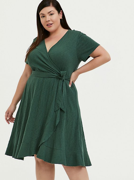 Plus Size Green Slub Jersey Ruffle Mini Wrap Dress, , hi-res