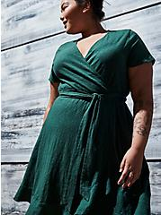 Plus Size Green Slub Jersey Ruffle Mini Wrap Dress, GARDEN TOPIARY, hi-res