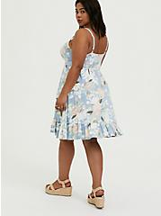 Super Soft Light Blue Floral Shirred Hem Skater Dress, FLORALS-BLUE, alternate
