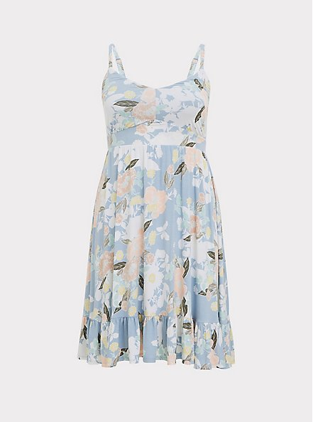 Super Soft Light Blue Floral Shirred Hem Skater Dress, FLORALS-BLUE, hi-res