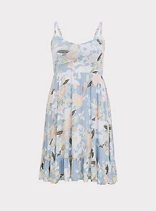 Super Soft Light Blue Floral Shirred Hem Skater Dress, FLORALS-BLUE, flat