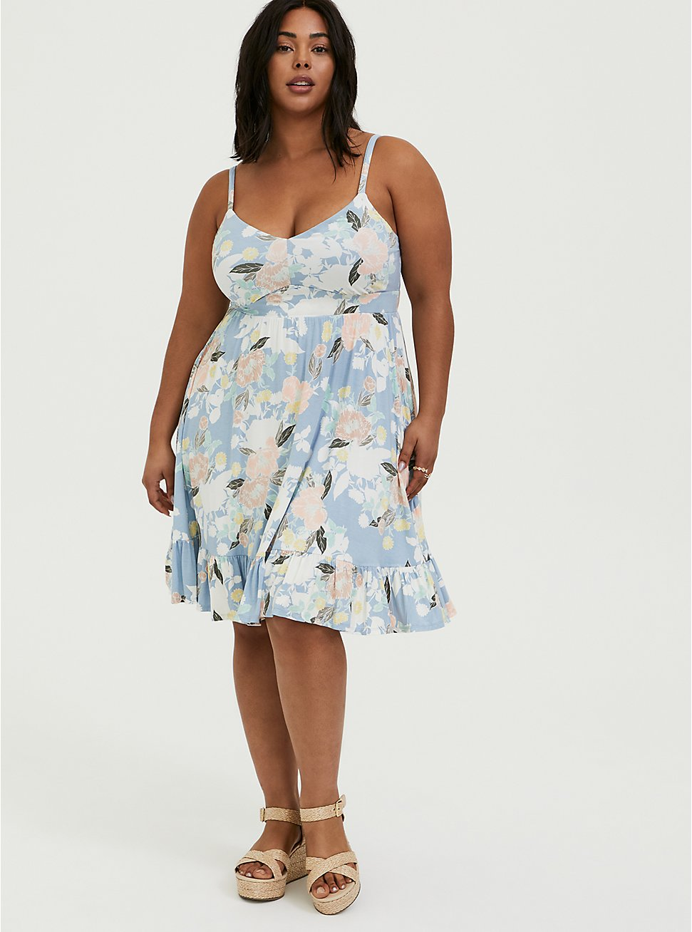 Plus Size Super Soft Light Blue Floral Shirred Hem Skater Dress, FLORALS-BLUE, hi-res