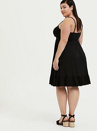 Super Soft Black Shirred Hem Skater Dress, DEEP BLACK, alternate