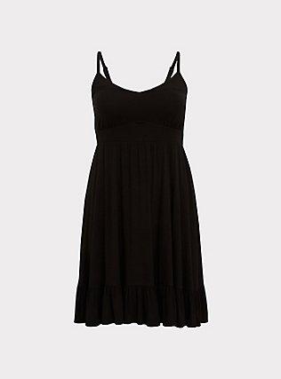 Super Soft Black Shirred Hem Skater Dress, DEEP BLACK, flat