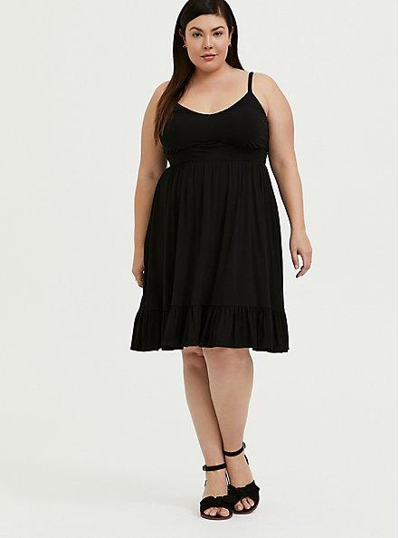 Super Soft Black Shirred Hem Skater Dress, DEEP BLACK, hi-res