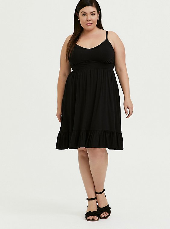 Plus Size Super Soft Black Shirred Hem Skater Dress, , hi-res