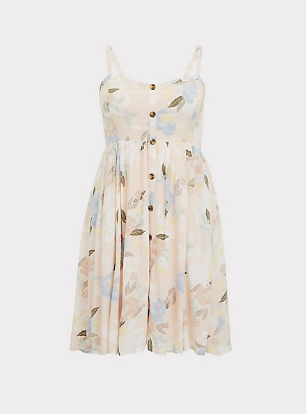 Light Pink Floral Challis Button Hi-Lo Dress, FLORALS-PINK, hi-res