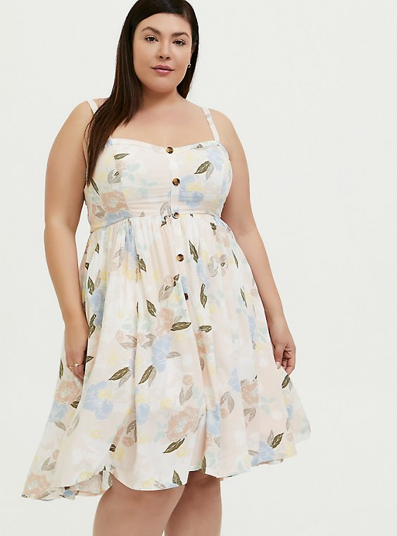Plus Size Light Pink Floral Challis Button Hi-Lo Dress, , hi-res