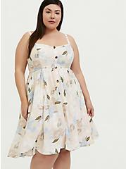 Light Pink Floral Challis Button Hi-Lo Dress, FLORALS-PINK, hi-res