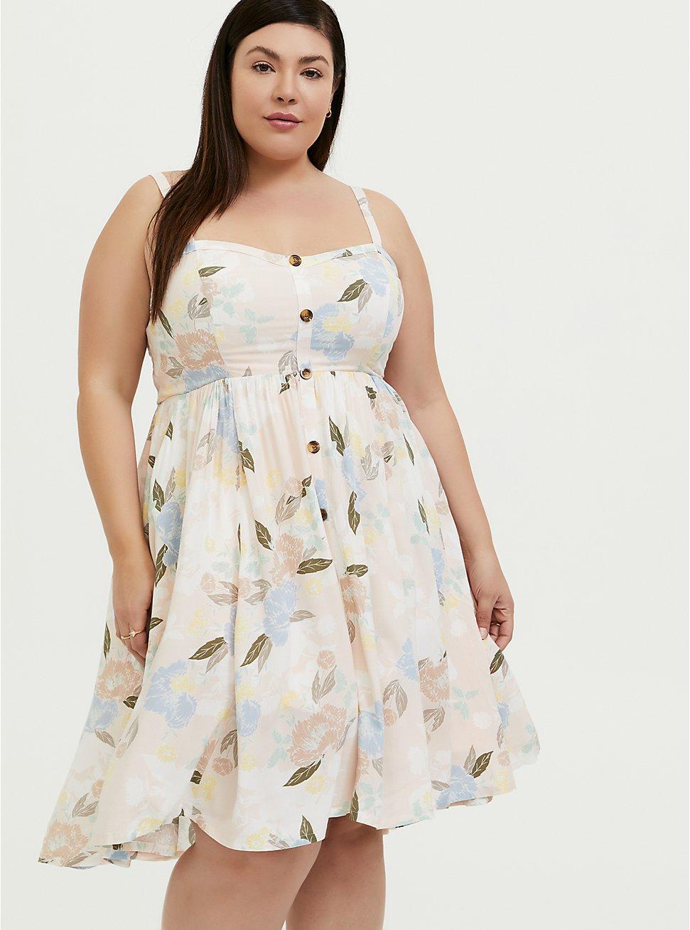 Light Pink Floral Challis Button Hi-Lo Dress, , fitModel1-hires