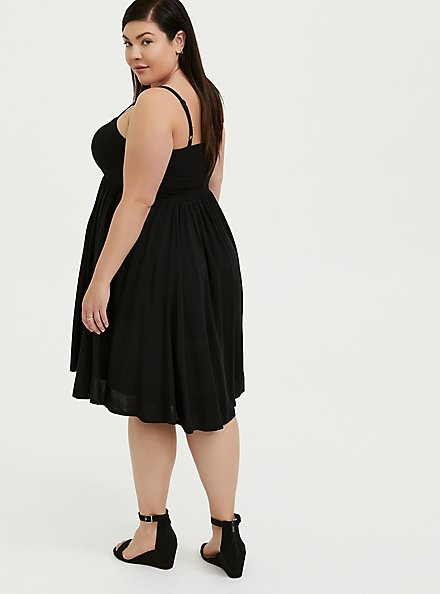 Plus Size Black Challis Button Hi-Lo Dress, DEEP BLACK, alternate