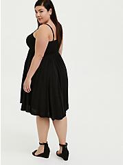 Black Challis Button Hi-Lo Dress, DEEP BLACK, alternate