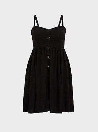 Black Challis Button Hi-Lo Dress, DEEP BLACK, flat