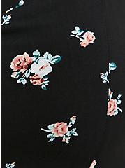 Plus Size Black Floral Challis Sharkbite Dress, FLORALS-BLACK, alternate