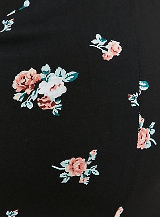 Black Floral Challis Sharkbite Dress, FLORALS-BLACK, alternate