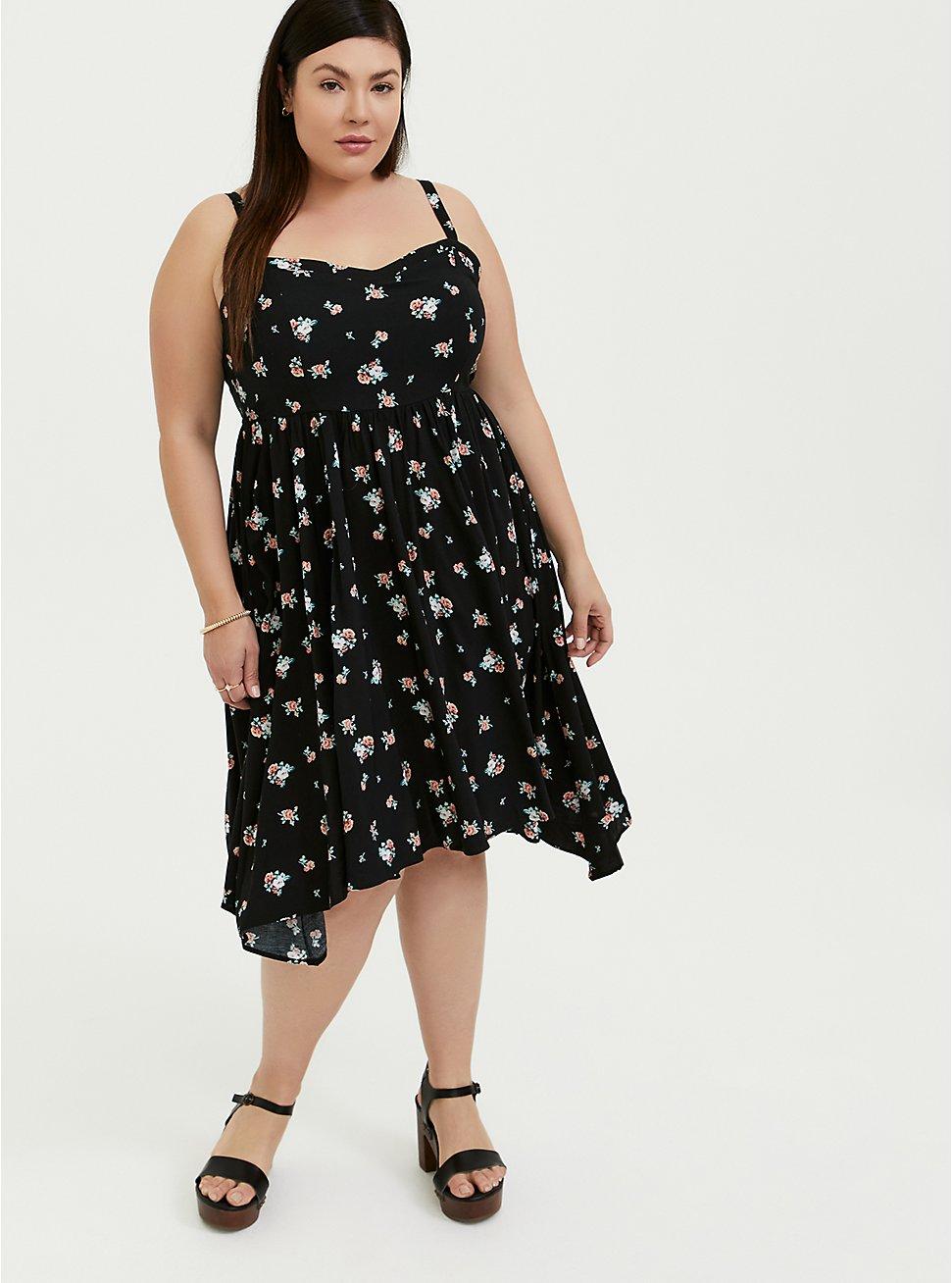 Black Floral Challis Sharkbite Dress, , fitModel1-hires