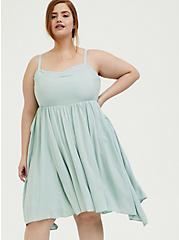 Plus Size Mint Blue Challis Sharkbite Skater Dress, HARBOR GREY, alternate