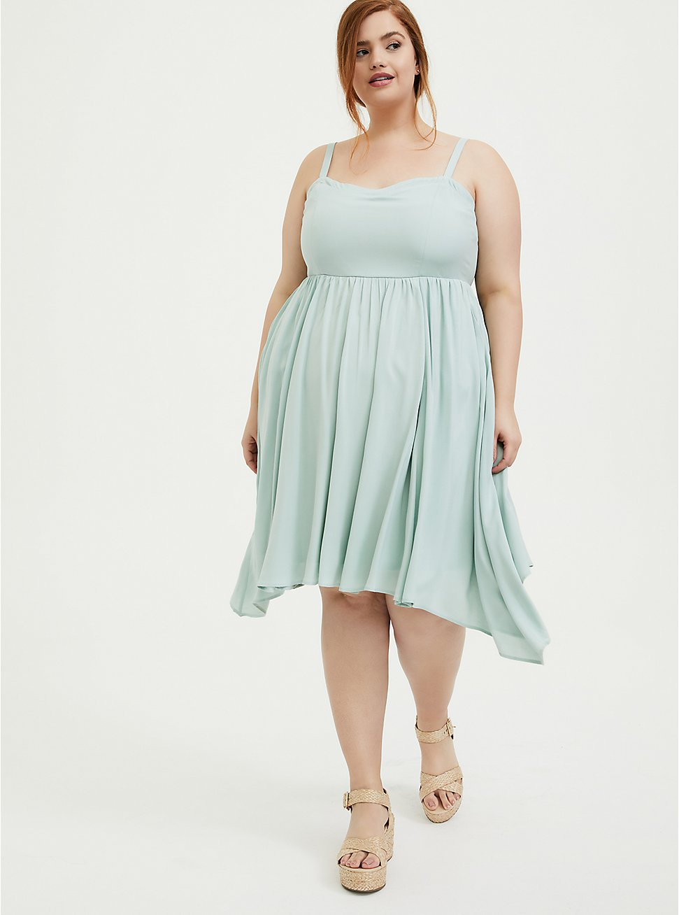 Plus Size Mint Blue Challis Sharkbite Skater Dress, HARBOR GREY, hi-res