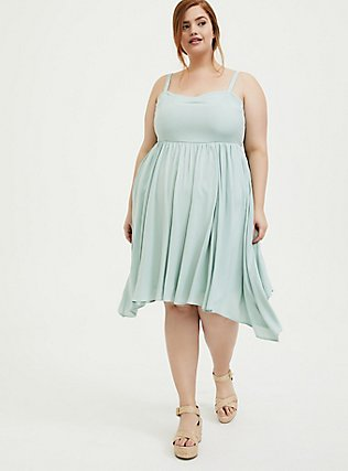 Mint Blue Challis Sharkbite Skater Dress, HARBOR GREY, hi-res