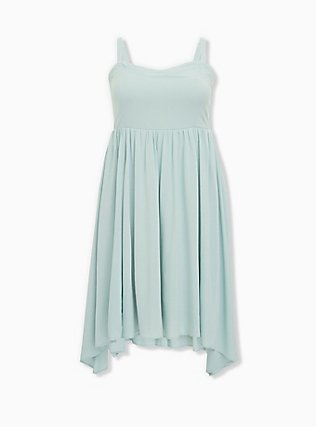 Mint Blue Challis Sharkbite Skater Dress, HARBOR GREY, ls