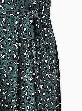 Green Leopard Studio Knit Tie Front Hi-lo Dress, LEOPARD-GREEN, alternate