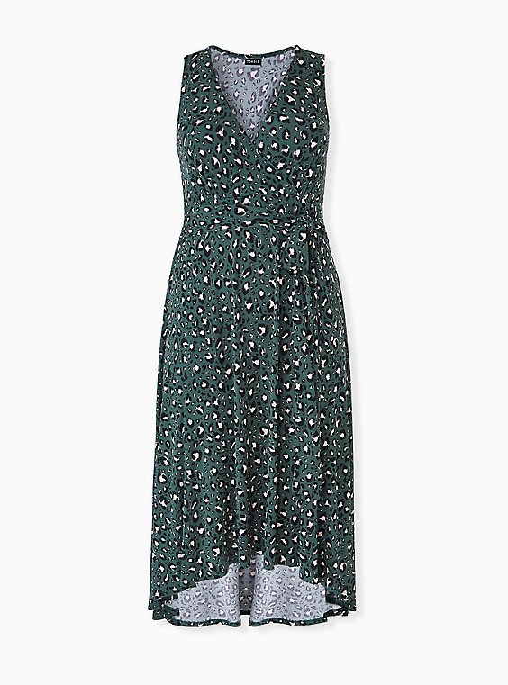 Green Leopard Studio Knit Tie Front Hi-lo Dress, , hi-res