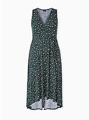 Green Leopard Studio Knit Tie Front Hi-lo Dress, LEOPARD-GREEN, hi-res