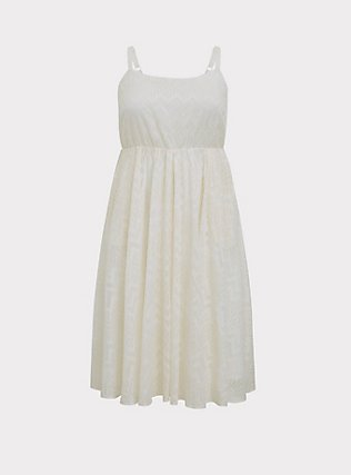 White Chiffon Chevron Stripe & Metallic Thread Midi Dress, WHITE, flat
