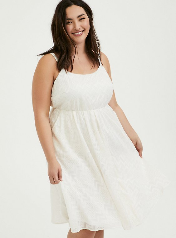 Plus Size White Chiffon Chevron Stripe & Metallic Thread Midi Dress, , hi-res