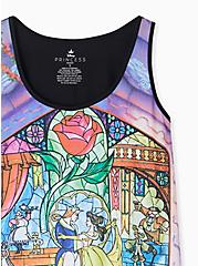 Plus Size Disney Beauty and the Beast Stained Glass Jersey Tank , MULTI, alternate