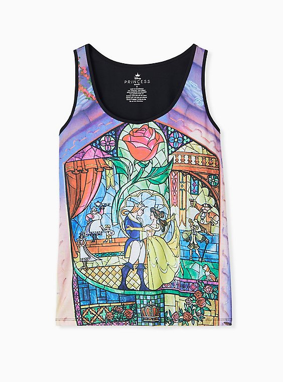 Plus Size Disney Beauty and the Beast Stained Glass Jersey Tank , , hi-res
