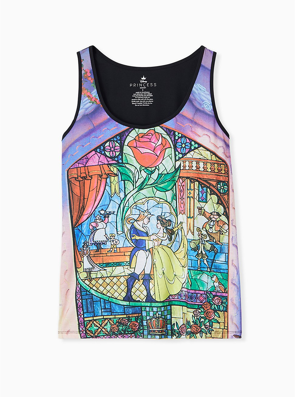 Plus Size Disney Beauty and the Beast Stained Glass Jersey Tank , MULTI, hi-res