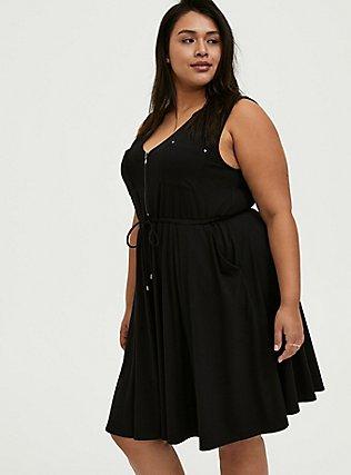 Black Jersey Zip Front Drawstring Shirt Dress, DEEP BLACK, alternate