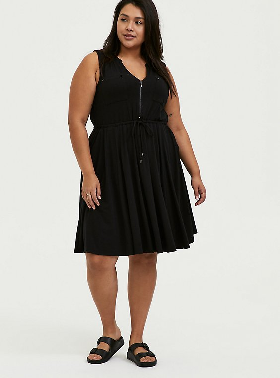 Black Jersey Zip Front Drawstring Shirt Dress, , hi-res