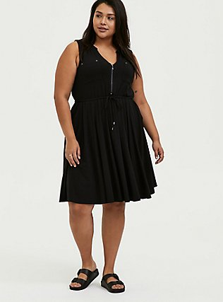 Plus Size Black Jersey Zip Front Drawstring Shirt Dress, DEEP BLACK, hi-res