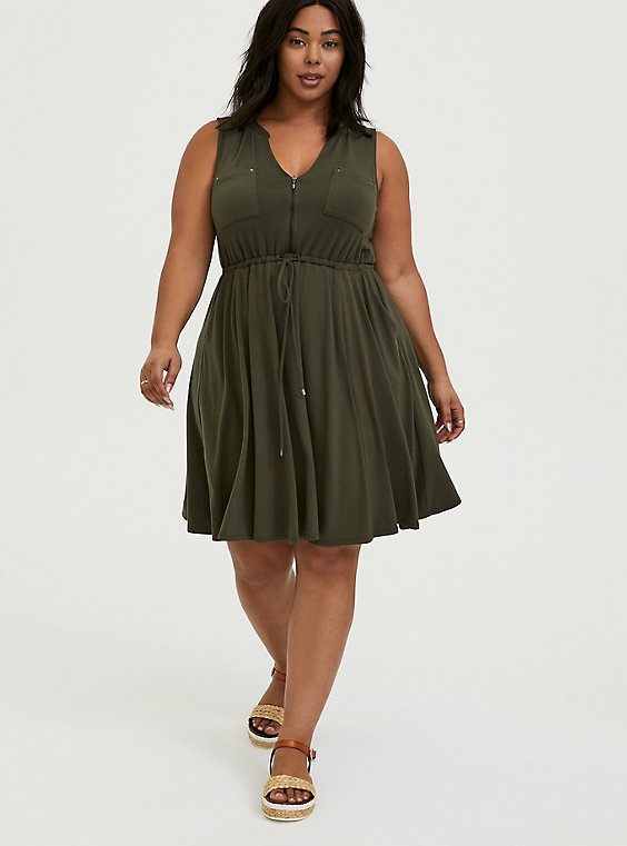 Plus Size Olive Green Jersey Zip Front Drawstring Shirt Dress, , hi-res