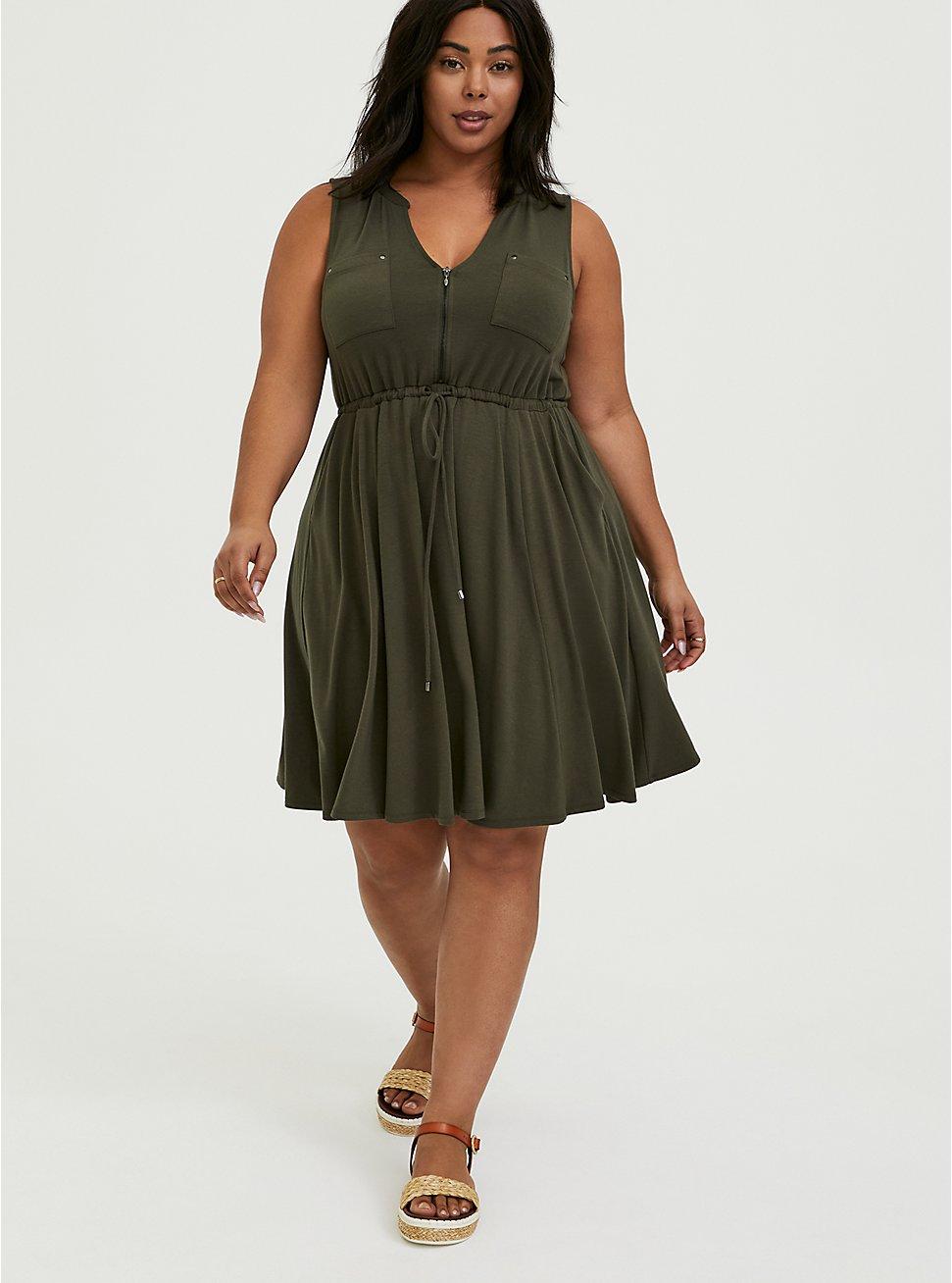 Plus Size Olive Green Jersey Zip Front Drawstring Shirt Dress, DEEP DEPTHS, hi-res
