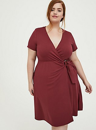 Plus Size Dark Red Premium Ponte O-Ring Mini Wrap Dress, CURRENT EVENTS, alternate