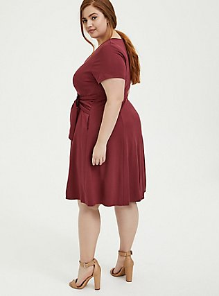 Dark Red Premium Ponte O-Ring Mini Wrap Dress, CURRENT EVENTS, alternate