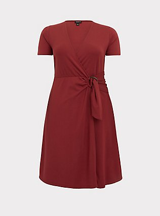 Plus Size Dark Red Premium Ponte O-Ring Mini Wrap Dress, CURRENT EVENTS, flat