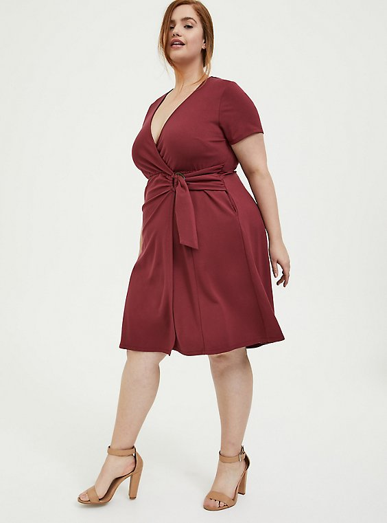 Plus Size Dark Red Premium Ponte O-Ring Mini Wrap Dress, , hi-res