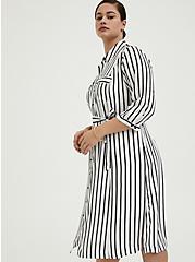 Plus Size Black & White Stripe Georgette Midi Shirt Dress, STRIPE-BLACK WHITE, alternate