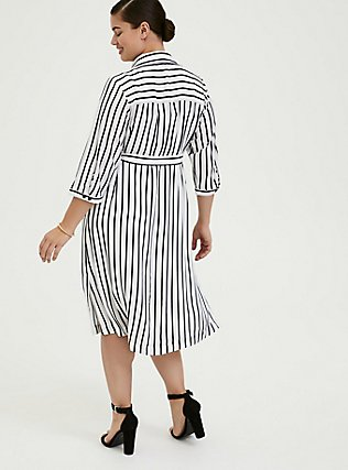 Plus Size Black & White Stripe Georgette Midi Shirt Dress, STRIPE-BLACK WHITE, alternate