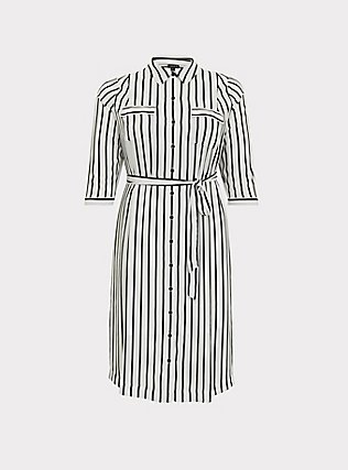 Plus Size Black & White Stripe Georgette Midi Shirt Dress, STRIPE-BLACK WHITE, flat
