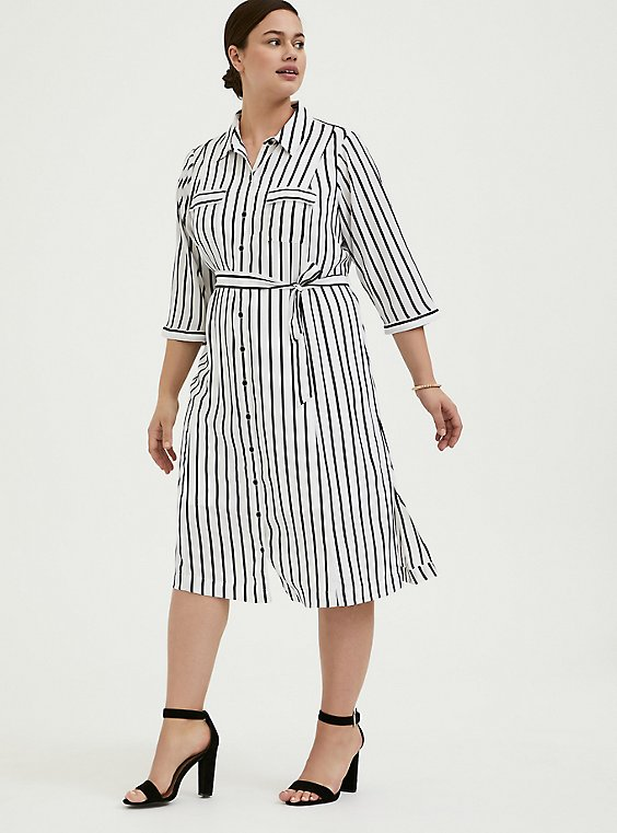 Plus Size Black & White Stripe Georgette Midi Shirt Dress, , hi-res