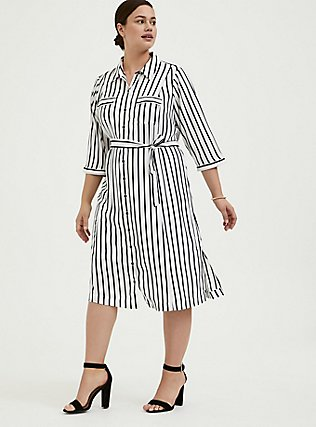 Plus Size Black & White Stripe Georgette Midi Shirt Dress, STRIPE-BLACK WHITE, hi-res