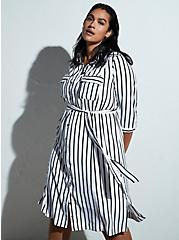 Black & White Stripe Georgette Midi Shirt Dress, STRIPE-BLACK WHITE, hi-res