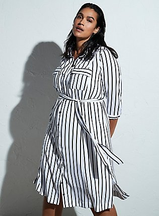Plus Size Black & White Stripe Georgette Midi Shirt Dress, STRIPE-BLACK WHITE, pdped