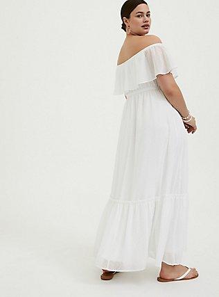 White Chiffon Swiss Dot Off Shoulder Shirred Maxi Dress, WHITE, alternate